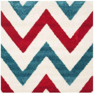 Kids Shag Ivory/Red 7 ft. x 7 ft. Square Area Rug