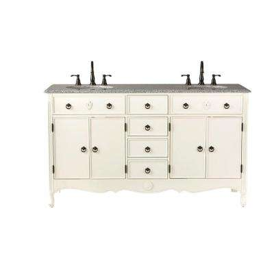 Keys 61 in. W Vanity in Ivory with Marble Vanity Top in Grey with White Basin