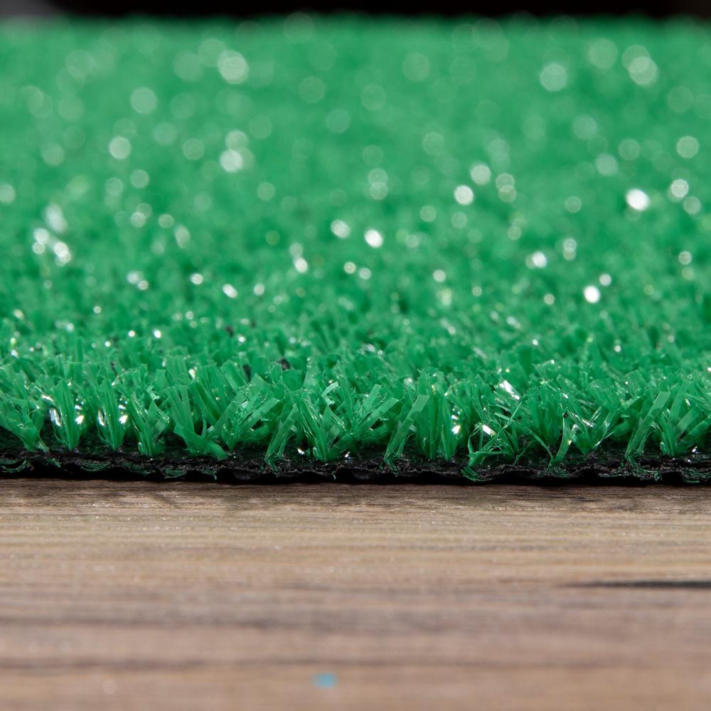 Ottomanson Garden Grass Collection 7 Ft X 9 Ft Green Artificial Grass Area Rug G800 7x10 The Home Depot