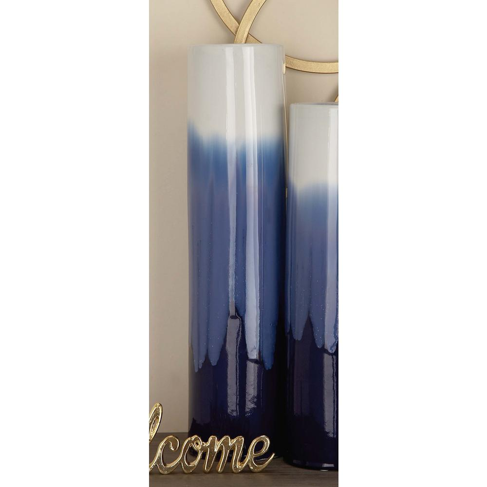 20 in. Modern Gradient White and Blue Ceramic Decorative Vase