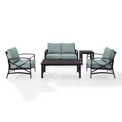 Kaplan 5-Piece Outdoor Seating Set with Mist Cushion - Loveseat, 2 Chairs, Coffee Table, Side Table