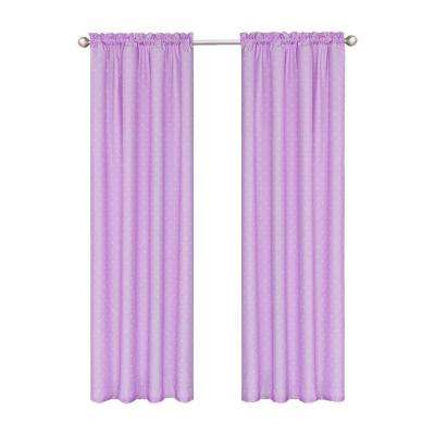 Kids Polka Dots Blackout Window Curtain Panel in Purple - 42 in. W x 84 in. L