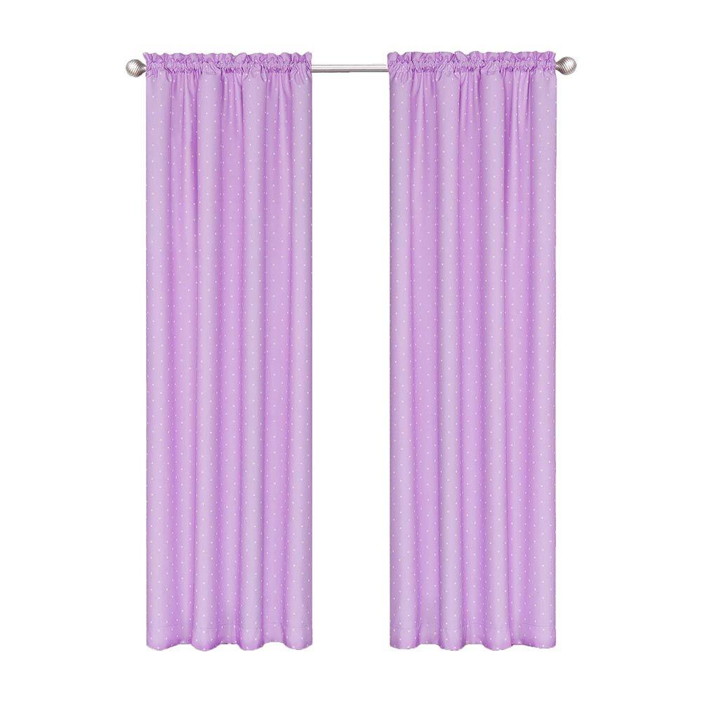 Purple Curtains: Eclipse Polka Dots Blackout Purple Polyester Curtain Panel