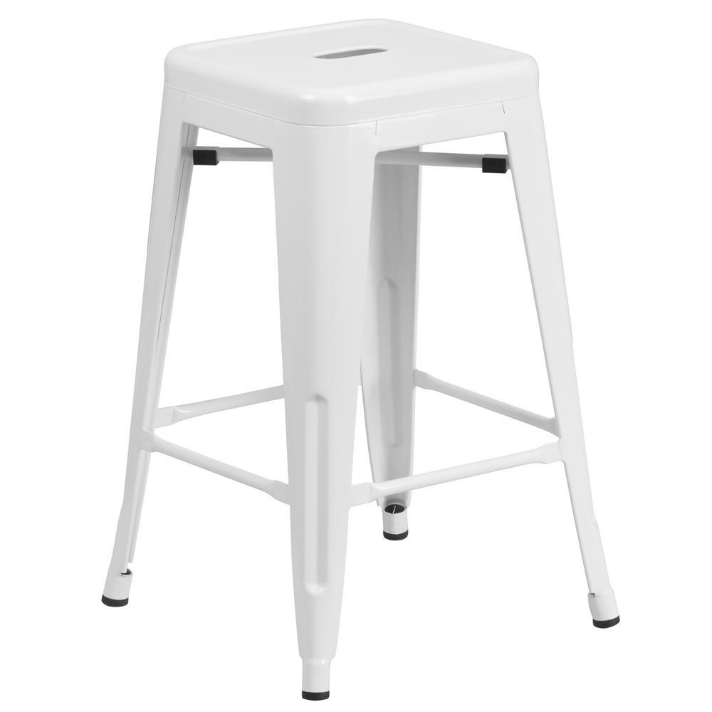 Flash Furniture 24 in. White Bar Stool