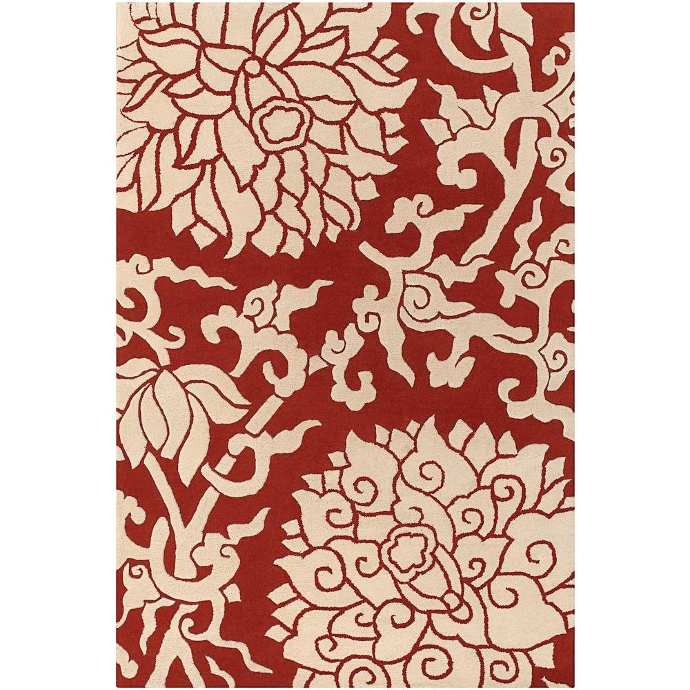 Chandra Thomaspaul Red/Cream 7 ft. 9 in. x 10 ft. 6 in. Indoor Area Rug