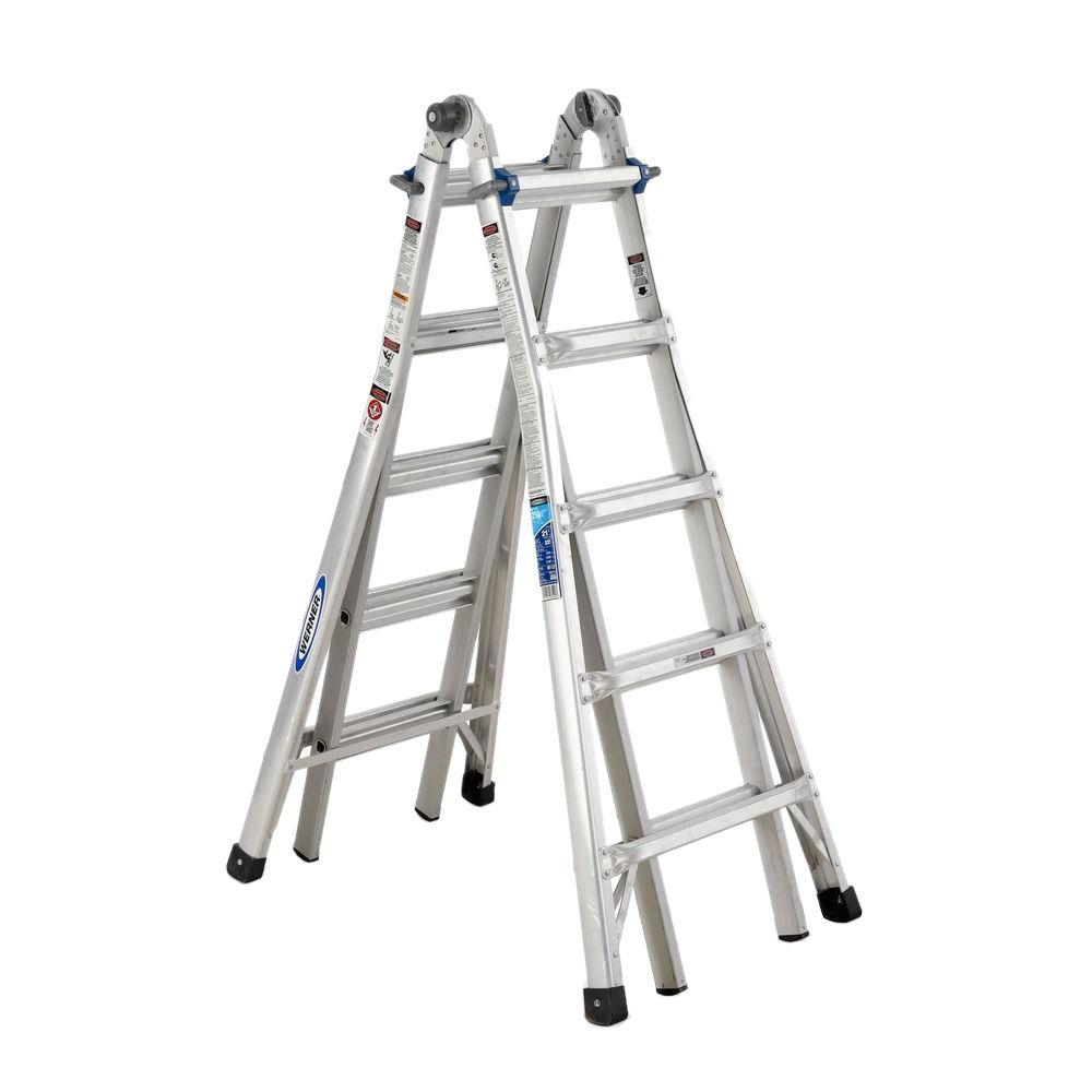 Werner 22 ft. Reach Aluminum Telescoping Multi-Position Ladder with 250 lb. Load Capacity Type I Duty Rating
