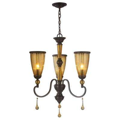 3-Light Oil-Rubbed Bronze Chandelier with Crystal Adorned Tea Stained Glass Shade
