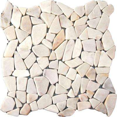 White Flat River Rock 16 in. x 16 in. x 10 mm Tumbled Marble Mesh-Mounted Mosaic Tile (12.46 sq. ft. / case)