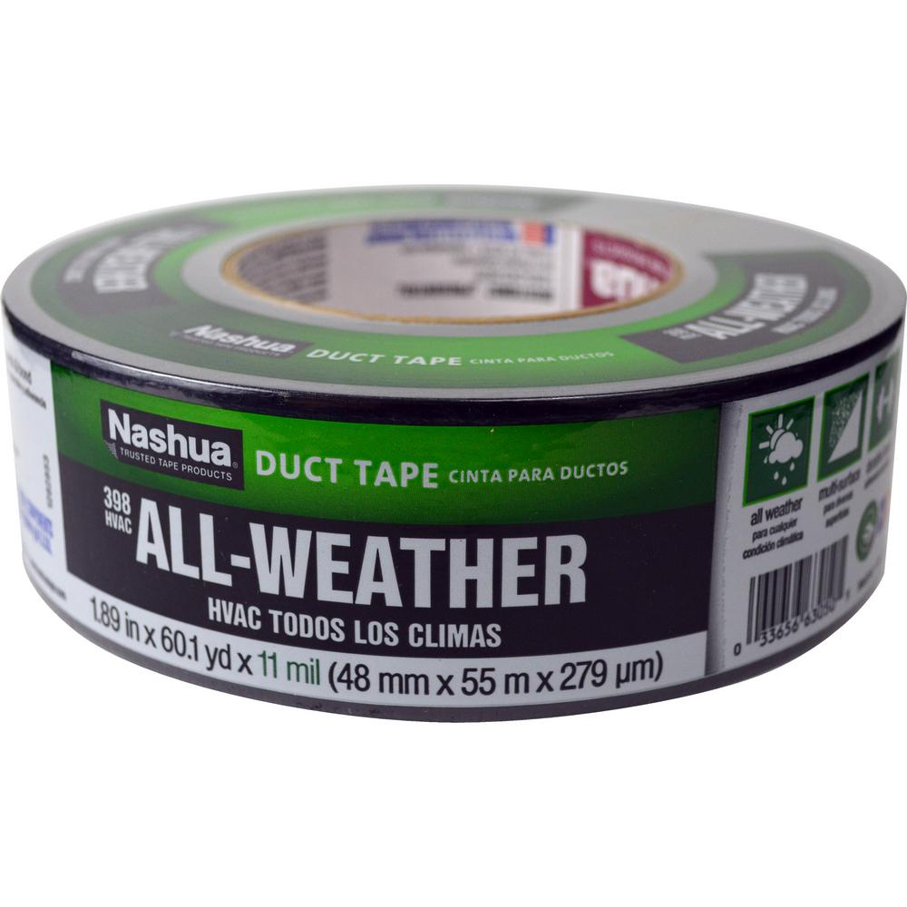 Nashua Tape 1.89 in. x 60 yd. 398 All-Weather HVAC Duct Tape in Black