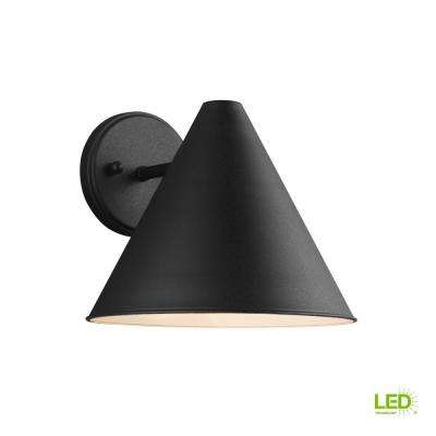 Crittenden 1-Light Black Outdoor 8.5 in. Wall Lantern Sconce with LED Bulb