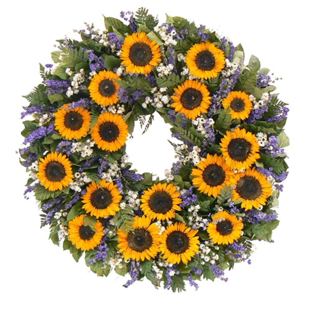 The Christmas Tree Company Sunflower Wingding 30 in. Dried Floral Wreath-DISCONTINUED