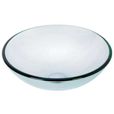 Crystalline Handmade Countertop Glass Round Vessel Bathroom Sink in Iridescent