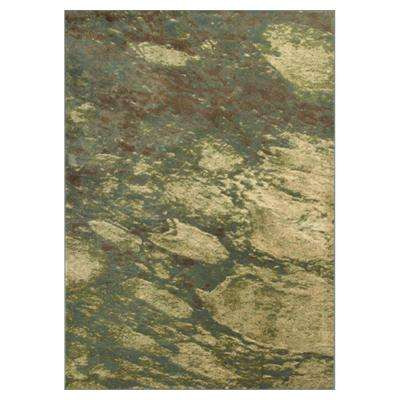 Abstract Water Green/Cream 5 ft. 3 in. x 7 ft. 7 in. Area Rug