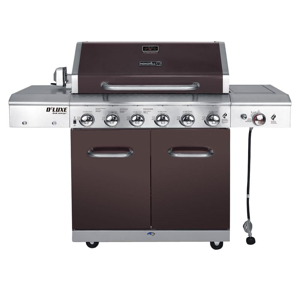 Deluxe 6-Burner Propane Gas Grill in Mocha with Ceramic Searing Side