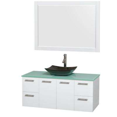 Amare 48 in. Vanity in Glossy White with Glass Vanity Top in Green, Granite Sink and 46 in. Mirror