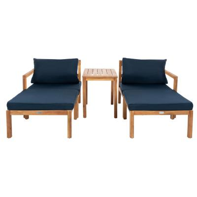 Pratia Natural Brown 5-Piece Wood Outdoor Day Bed with Navy Cushions