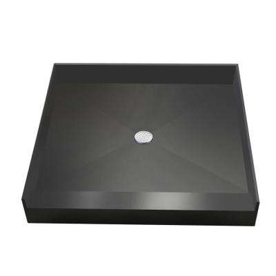 42 in. x 42 in. Single Threshold Shower Base in Grey with Center Drain