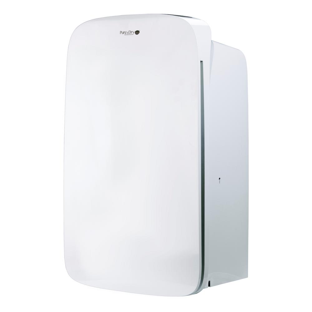 Aerus 70-Pint Dehumidifier with Hepa Filtration, Energy Star, Whites The Pure and Dry HEPA air purifier and dehumidifier is the first combination dehumidifier air purifier that incorporates a HEPA air filter to produce the driest and cleanest air possible. This revolutionary Pure and Dry HEPA70 dehumidifier air purifier will dry the air in spaces up to 1,400 sq. ft., plus it will remove allergy-causing, microscopic particles from the air such as mold, mildew, pollen, pet dander and dusthelps to create a cleaner and healthier space that your family will be happy to use. The Pure and Dry removes up to 70 pints of moisture per day while cleaning the air with its sealed HEPA filter. Loaded with desirable features including an adjustable humidistat for selecting the desired level of relative humidity, auto restart in case of a power failure, direct drainage connection for continuous operation and an automatic full bucket shut-off. It features a compact size and stylish design that will look good in any room of your home. Other features include operation down to 41F, LED control pad, timer, night mode, cleaning mode and a child-safe locking system that prevents little fingers from playing with the control settings. With all of these features and the inclusion of a true HEPA filter, the Pure and Dry HEPA70 is the only dehumidifier that dries and cleans the air simultaneously for a completely-healthy home. Color: Whites.