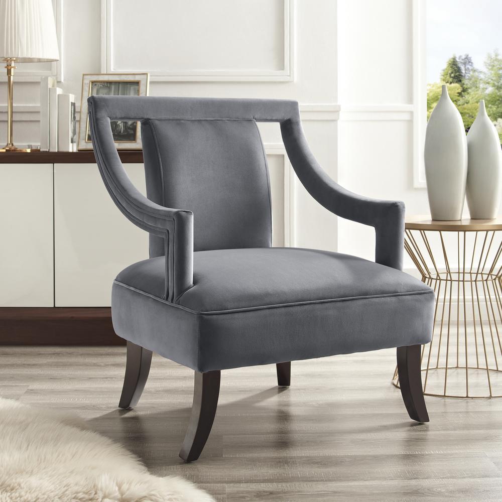 Inspired Home Felicity Grey Velvet Swoop Arm Slipper Chair with Open