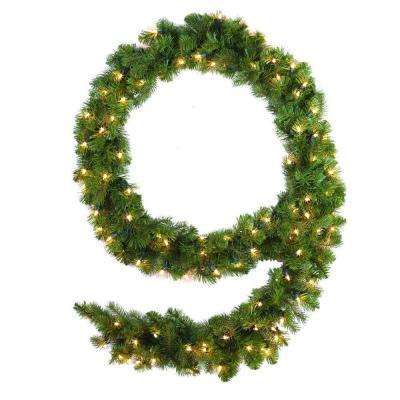 9 ft. Pre-Lit Downswept Douglas Fir Garland