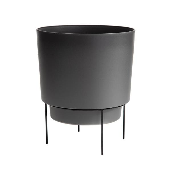 Hopson Large 14 in. Charcoal Gray Plastic Planter with Metal Black Stand