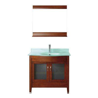 Alba 36 in. Vanity in Classic Cherry with Glass Vanity Top in Classic Cherry and Mirror
