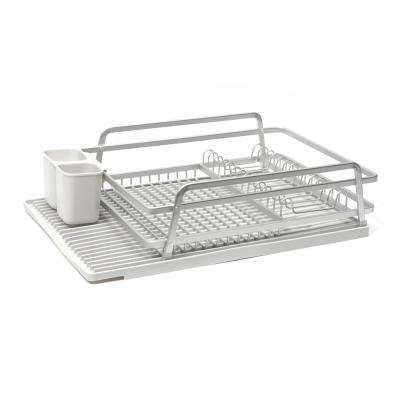 21 in. x 14.75 in. Single Level Dish Rack in Brushed Aluminum with Silicone Mat in Light Grey