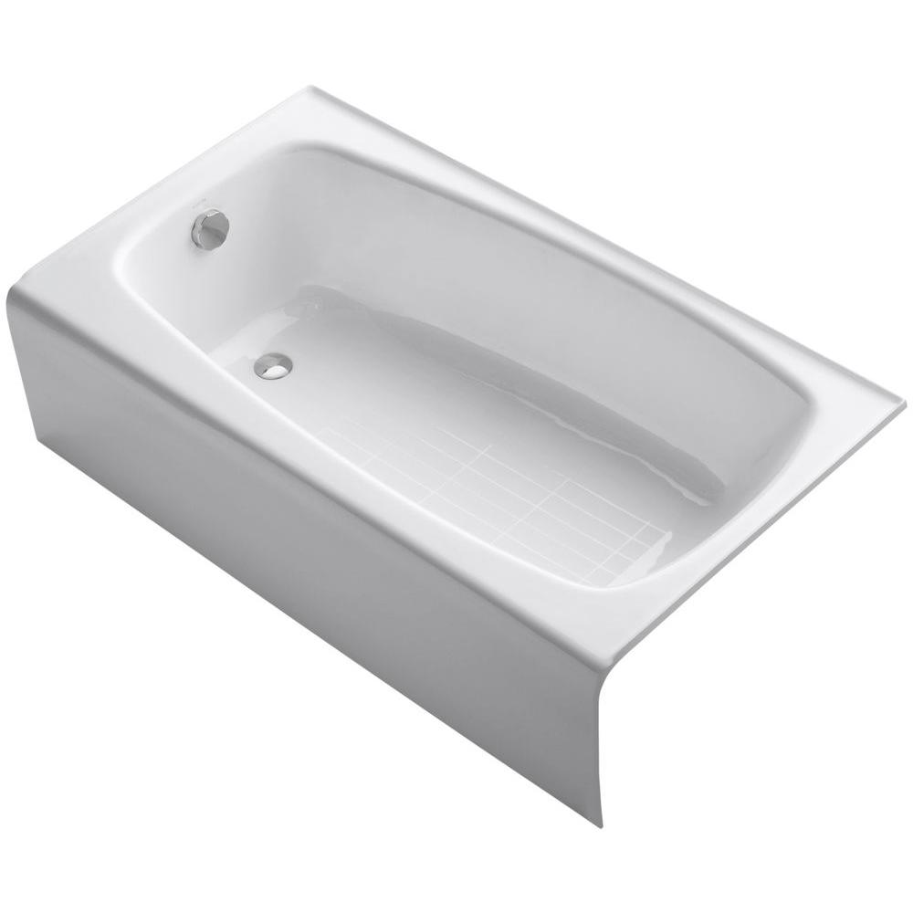 KOHLER Seaforth 4.5 ft. Left Drain Rectangular Alcove Soaking Tub in White