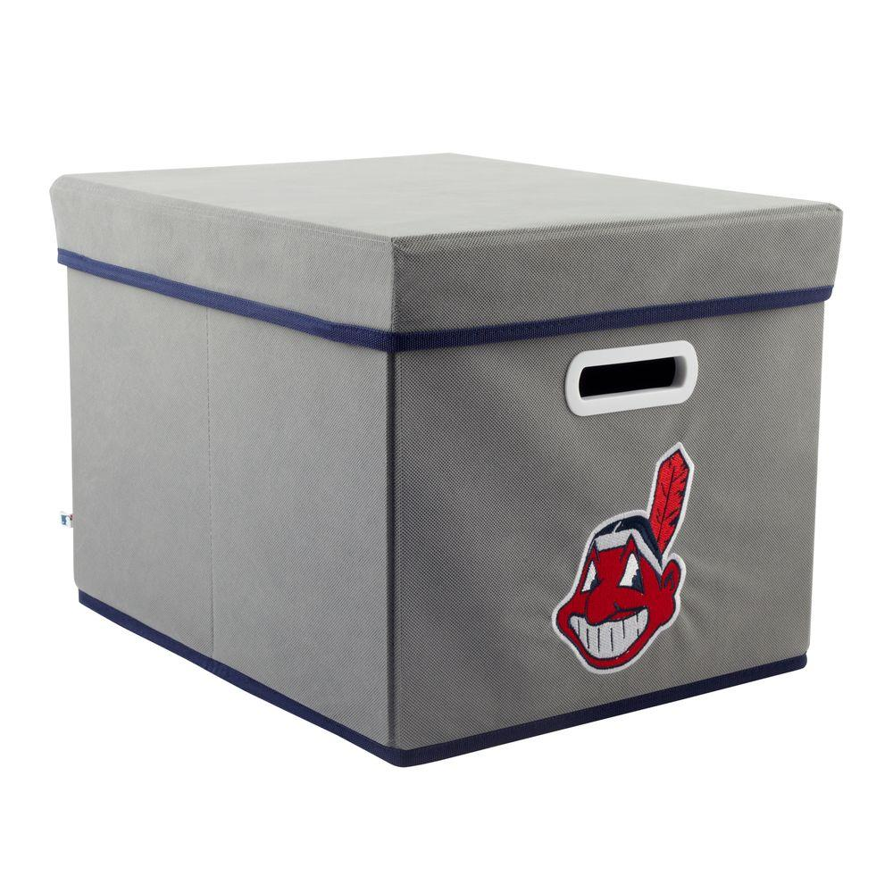 MyOwnersBox MLB STACKITS Cleveland Indians 12 in. x 10 in. x 15 in. Stackable Grey Fabric Storage Cube