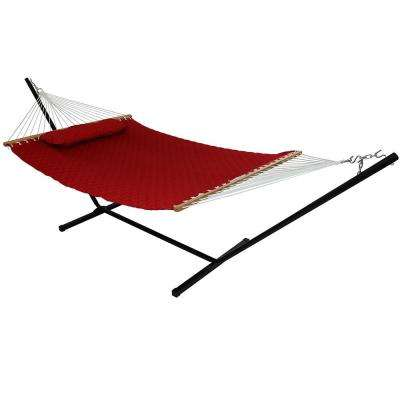 10-3/4 ft. Quilted Double Fabric 2-Person Hammock with Spreader Bars Pillow and Stand in Red