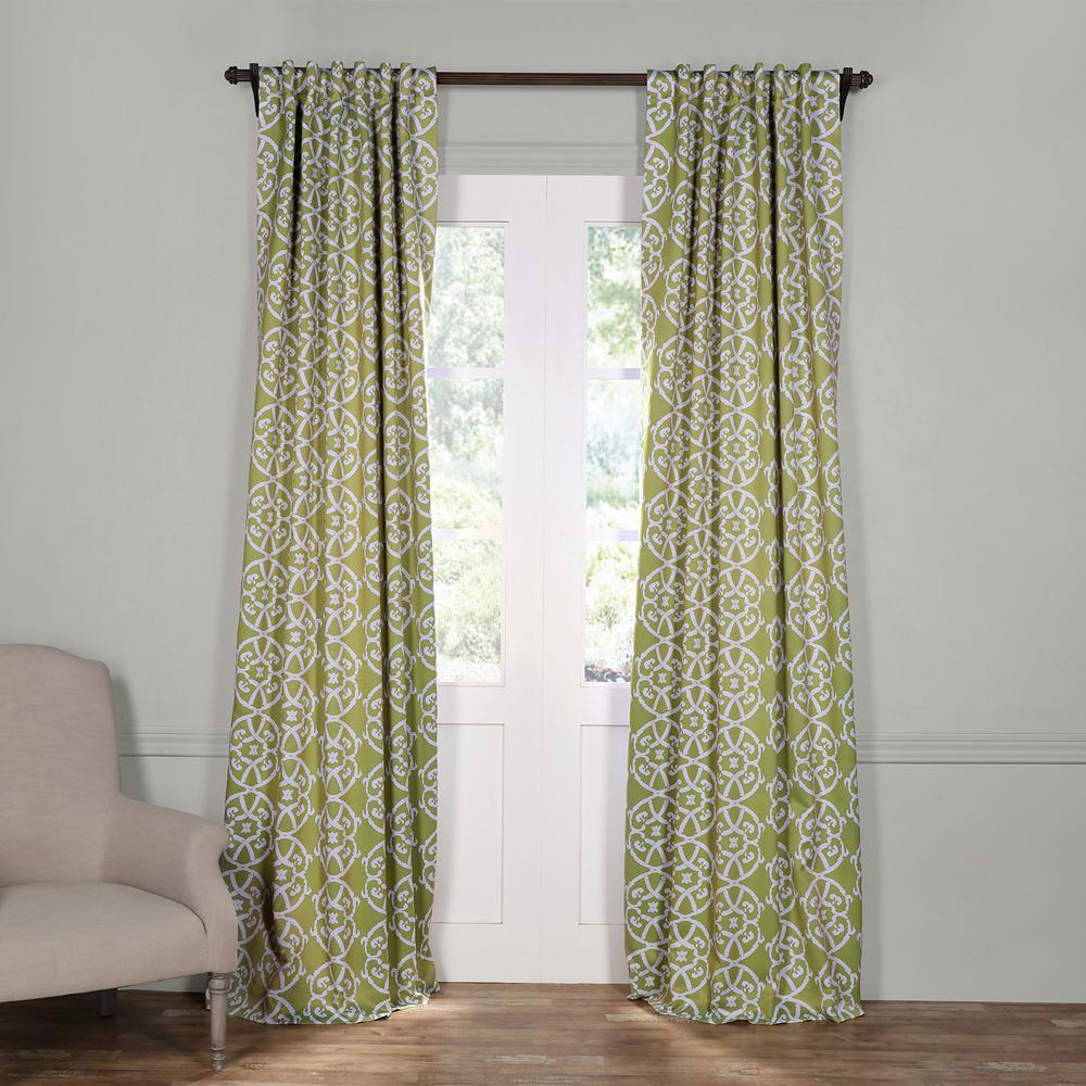 Semi Opaque Secret Garden Leaf Green Blackout Curtain 50 In W X 120