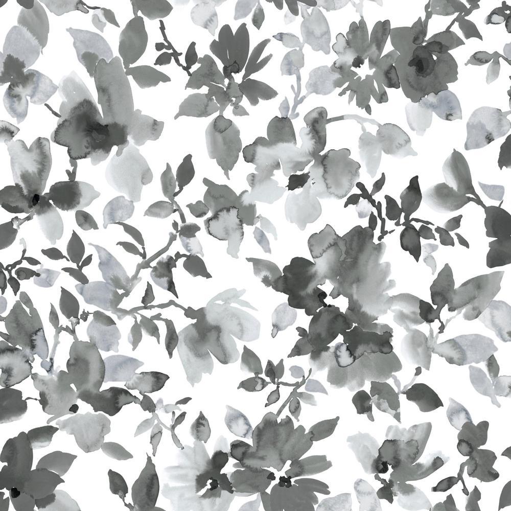 28.18 sq. ft. Black Watercolor Floral Peel and Stick Wallpaper