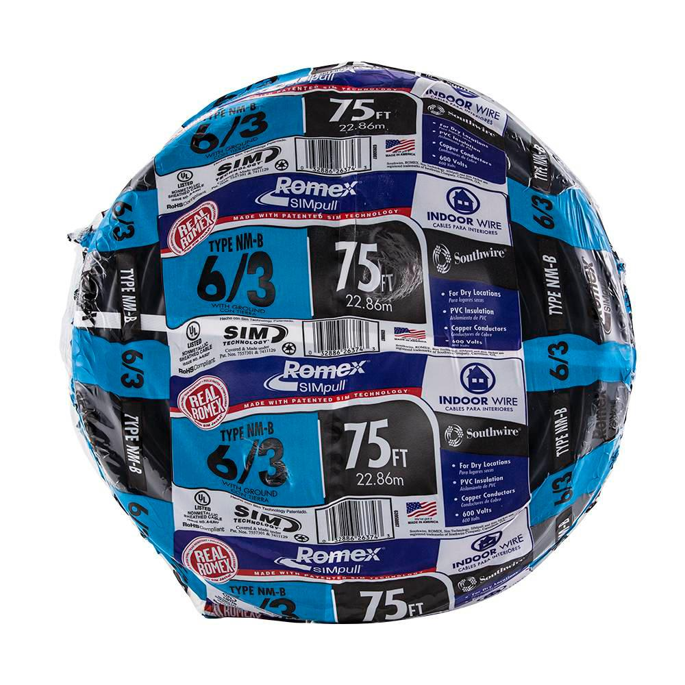 Southwire 75 ft. 6/3 Stranded Romex SIMpull CU NM-B W/G Wire