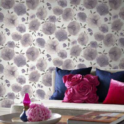 Poppies Lavender Wallpaper
