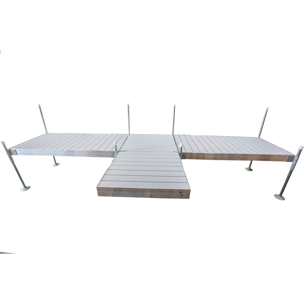 Tommy Docks 8 ft. Shore T-Style Aluminum Frame With Aluminum Decking Platinum Series Complete Dock Package