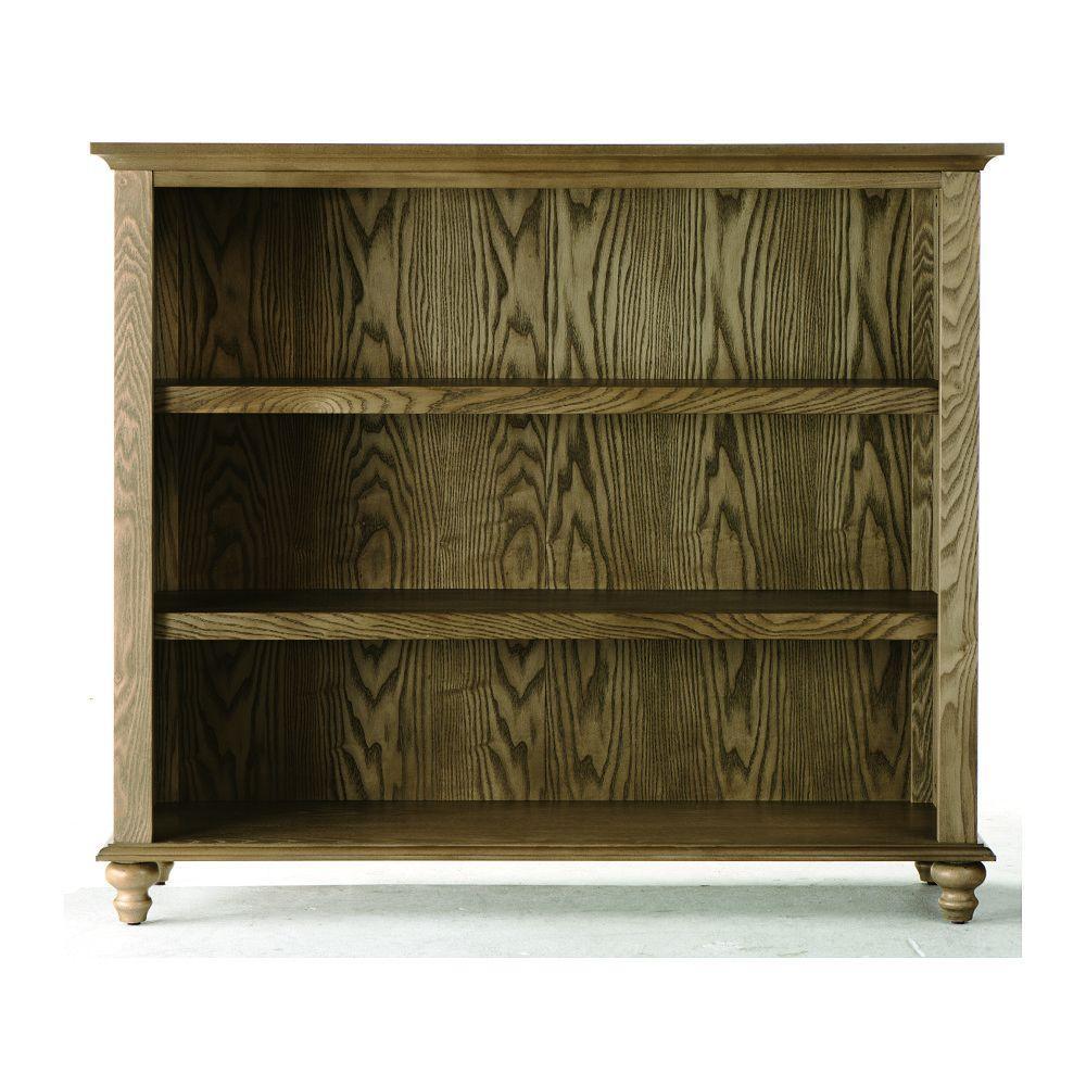 Home Decorators Collection Shutter 41.5 in. W Weathered Oak 3-Shelf Open Bookshelf