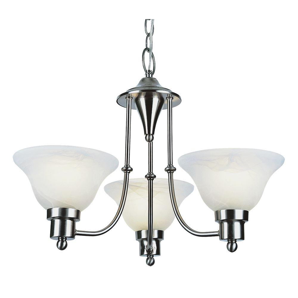 Bel Air Lighting Stewart 3-Light Brushed Nickel Chandelier with Marbleized Glass Shades