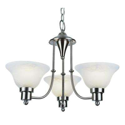 Stewart 3-Light Brushed Nickel Chandelier with Marbleized Glass Shades