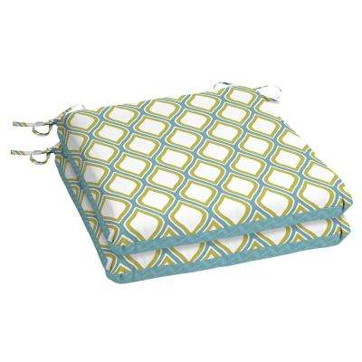 Porcelain and Pear Square Outdoor Seat Cushion (2-Pack)