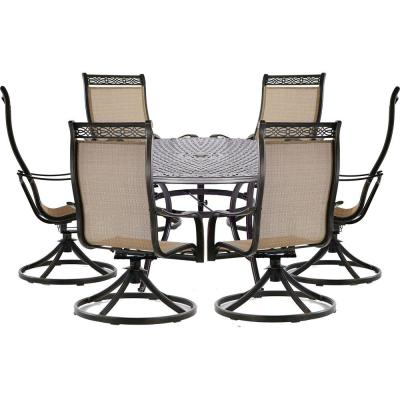 Manor 7-Piece Aluminum Outdoor Dining Set with 6 Sling Swivel Chairs