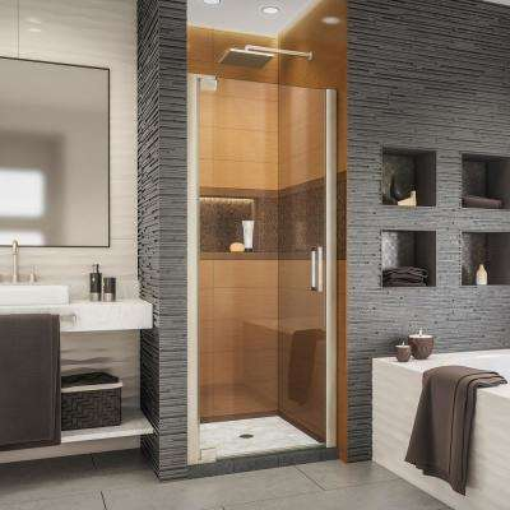 Elegance-LS 25-1/4 in. to 27-1/4 in. W x 72 in. H Frameless Pivot Shower Door in Brushed Nickel