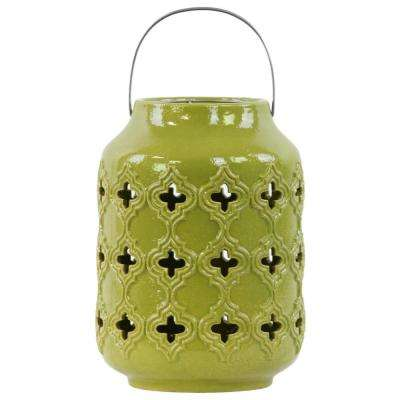 Green Candle Ceramic Decorative Lantern