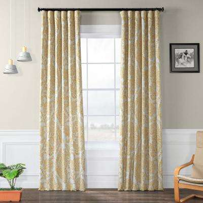 Tea Time Yellow Gold Blackout Curtain - 50 in. W x 96 in. L