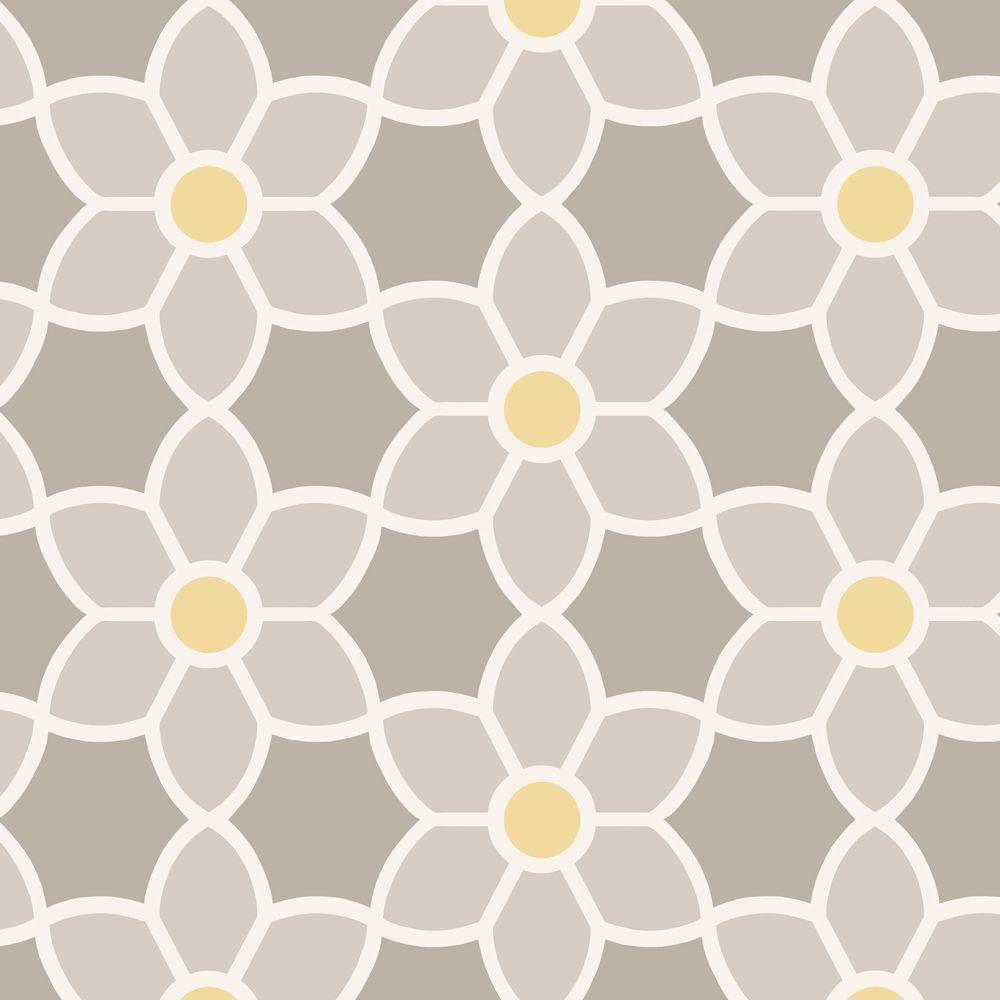 Blossom Grey Geometric Floral Wallpaper Sample