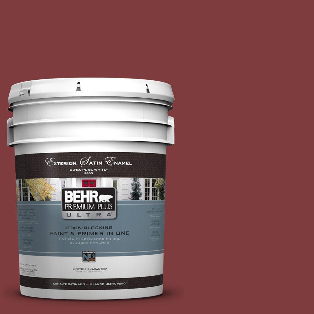 BEHR Premium Plus Ultra 5-gal. #UL110-21 Dozen Roses Satin Enamel Exterior Paint