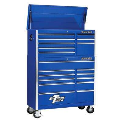 EX Standard Series 41 in. 8-Drawer Top Chest and 11-Drawer Roller Cabinet Combo, Blue