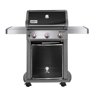 Spirit E-310 3-Burner Propane Gas Grill (Featuring the Gourmet BBQ System) in Black with Griddle Inserts
