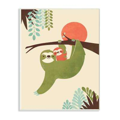 "12.5 in. x 18.5 in. ""Sloth Family Minimal Illustration Green Blue Brown and Red"" by Jay Fleck Wood Wall Art"
