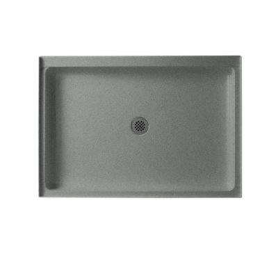34 in. x 48 in. Solid Surface Single Threshold Center Drain Shower Pan in Gray Granite