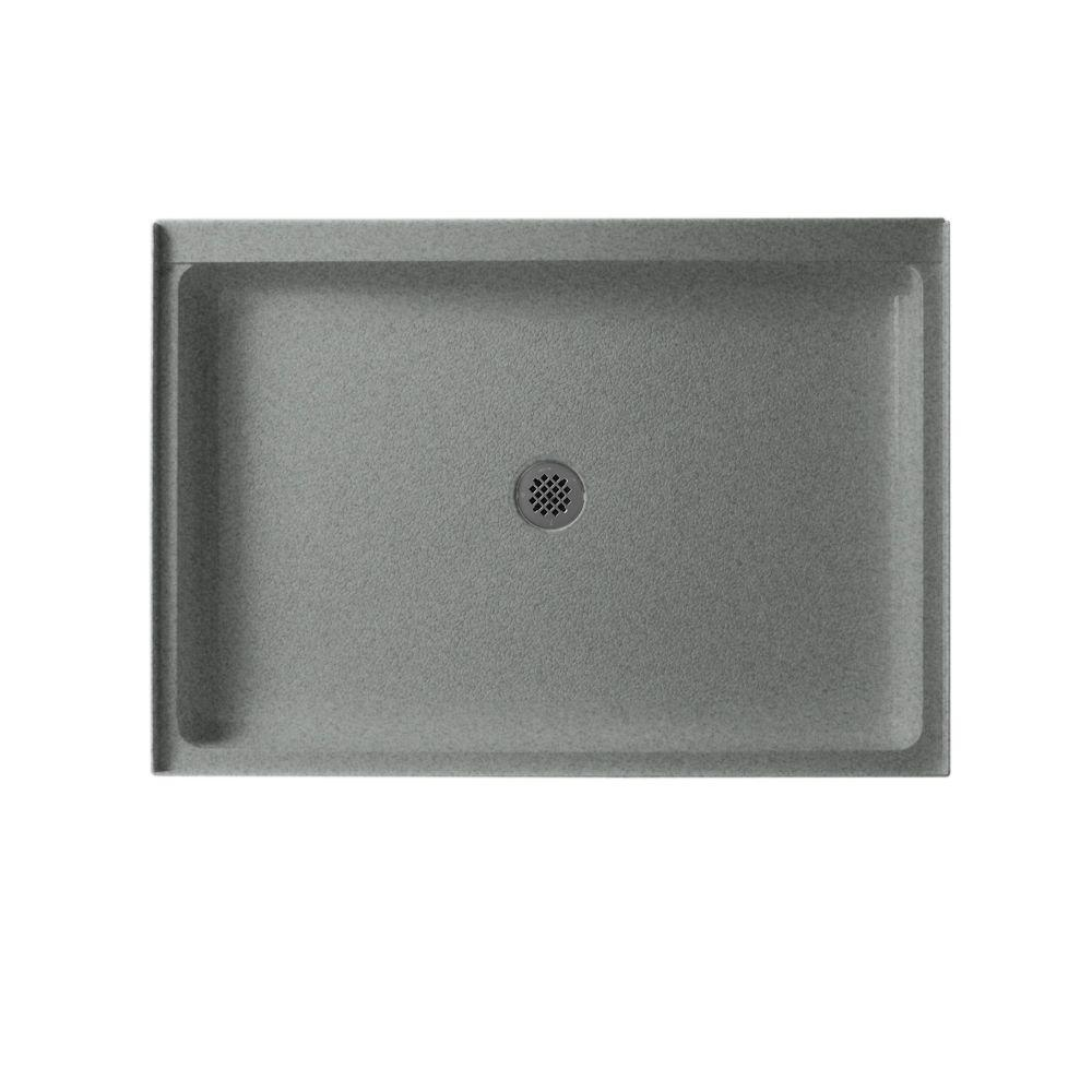 Swan 34 in. x 60 in. Solid Surface Single Threshold Center Drain